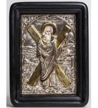 Апостол Андрій - ікона писана з сріблом та позолотою (Хм-02)
