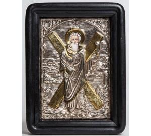 Апостол Андрей - писаная икона с серебром и позолотой (Хм-02)