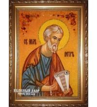 Апостол Петр - именная икона из янтаря, ручная работа (ар-162)