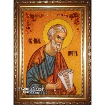 Апостол Петро - іменна ікона з янтаря, ручна робота (ар-162)