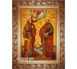 Апостолы Петр и Павел - красочная икона из янтаря, ручная работа (ар-185)