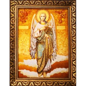 Архангел Гавриил - икона из янтаря, ручная работа (ар-261)