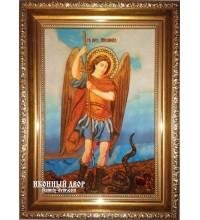 Архангел Михаил - чудесная именная икона из янтаря, 100% ручная работа (ар-199)