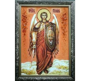 Архангел Михаил, в полный рост - икона из янтаря (ар-285)