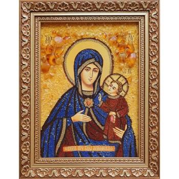 Армянская Богородица - икона ручной работы, из янтаря (ар-346)