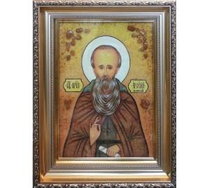 Арсеній Великий - ікона з янтаря (ар-303)