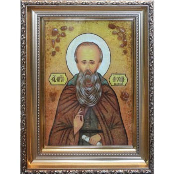 Арсений Великий - икона из янтаря (ар-303)