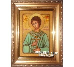Артемій Веркольский - Іменна ікона з натурального каменю бурштину (ар-138)