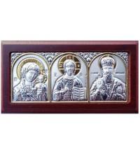 Автомобильная икона: Божья Матерь, Спаситель, Николай Чудотворец - греческая икона с серебром и позолотой (EK1XAG/3M)