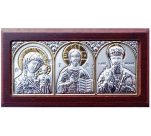 Автомобільна ікона: Божа Матір, Спаситель, Микола Чудотворець - грецька ікона зі сріблом та позолотою (EK1XAG/3M)