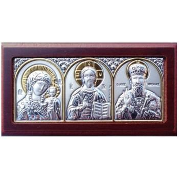 Автомобільна ікона: Святитель Миколац, Ісус, Богородиця - грецька ікона зі сріблом та позолотою (EK0XAG/3M)