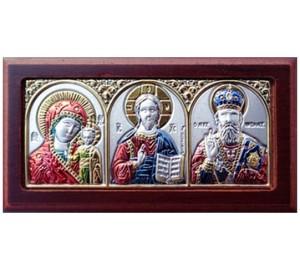 Автомобільна ікона кольорова: Святитель Миколай, Ісус, Мати Божа - грецька ікона зі сріблом та позолотою (EK0XAG/3MC)