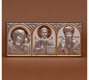 Автомобильная икона трех святых - греческая икона с серебром и позолотой (EK1XBG)