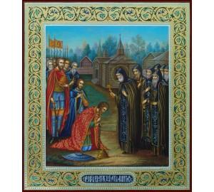 Благословение Дмитрия Донского Сергием Радонежским - Писаная Икона (ир-5)