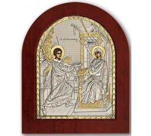 Благовіщення - Ікона арочної форми з сріблом та позолотою (GOLD)