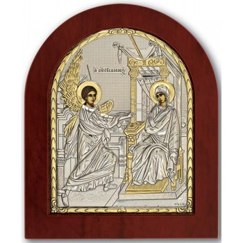 Благовещение - Икона арочной формы с серебром и позолотой (GOLD)