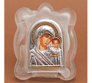 Богородиця Казанська Ікона в муранском склі з сріблом та позолотою (EK1MAG Казанська)