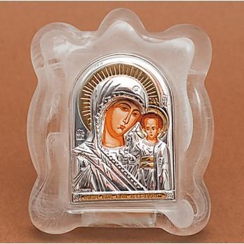Богородица Казанская - Икона в муранском стекле с серебром и позолотой (EK1MAG Казанская)
