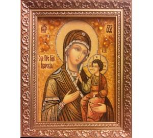 Божья Матерь Иверская - янтарная икона ручной работы (ар-264)