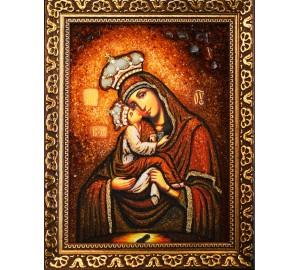 Божья Матерь Почаевская - икона из янтаря (ар-278)