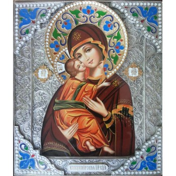 Володимирська божа Матір - ікона писана в окладі з сріблом (Гр-44/В)