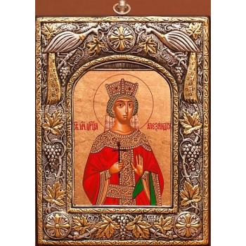 Царица Александра, икона из чистого серебра - именная греческая икона (24PSG- Александра)