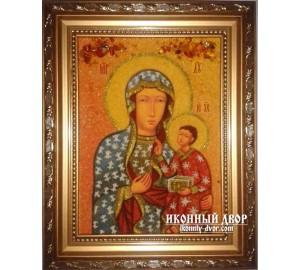 Ченстоховская икона Божией Матери - икона из янтаря, ручная работа (ар-148)