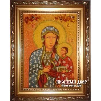 Ченстоховська ікона Божої Матері, ікона з янтаря, ручна робота (ар-148)