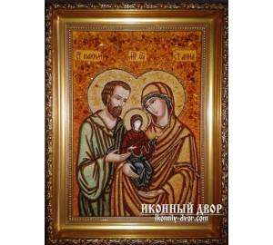 Cв. Иоаким и Анна - Икона из янтаря, ручной работы (ар-54)