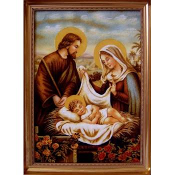 Свята родина - Ікона з бурштину ручної роботи (ар-220)
