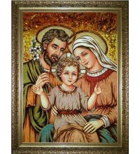 Cвятое семейство - икона с янтарем, ручной работы (RB-50)