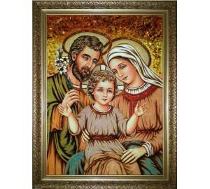 Святе сімейство - ікона з бурштином, ручної роботи (RB-50)