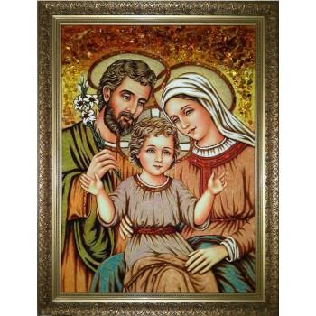 Cвятое семейство - картина с янтарем, ручной работы