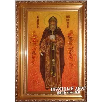 Даниил Московский икона из янтаря - помощь в жилищных проблемах (ар-146)