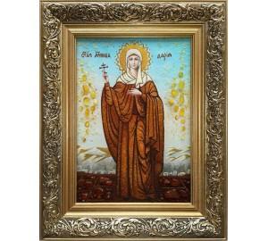Дария Римская - именная икона, с янтарем (ар-172)