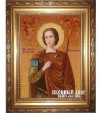 Дмитрий (Димитрий) Солунский - Икона ручной работы из янтаря (ар-131)