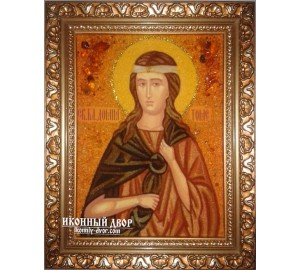Домна Томская - Икона из янтаря ручной работы (ар-184)
