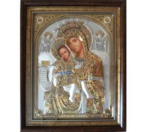 Достойно Есть - Чудотворная Икона Божьей Матери, под стеклом, с жемчугом и камнями Сваровски  (SPECIAL Stone)