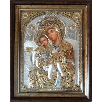 Достойно Є Чудотворна Ікона Божої Матері, під склом, з перлами і каменями Сваровскі (SPECIAL Stone)