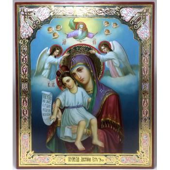 Достойно есть икона Божьей Матери - писаная икона, с золотом (AS-01)