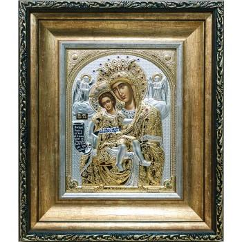 Достойно Есть - шикарная икона Божьей Матери, с жемчугом и камнями Сваровски (EK799-027KZ)