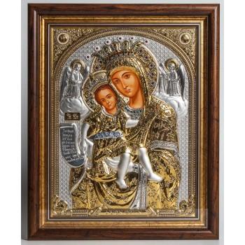 Эксклюзивная икона Божией Матери Достойно Есть - Икона с жемчугом и камнями Сваровски (EK799-027XAG)