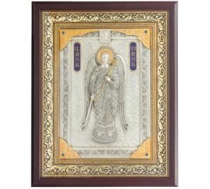 Эксклюзивная икона на подарок святой Ангел-Хранитель - икона с серебром (ЮЛ-52)