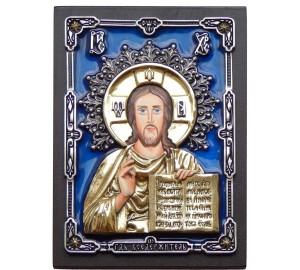 Эксклюзивная настольная икона Господь Вседержитель (с серебром и позолотой) (Ос-ГС6р)