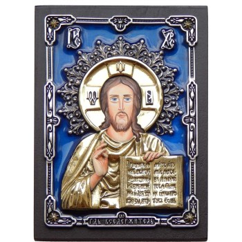 Ексклюзивна настільна ікона Господь Вседержитель (з сріблом і позолотою) (Оз-ГС6р)