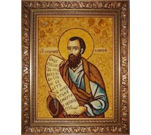 Елисей - икона из янтаря, ручная работа (ар-262)