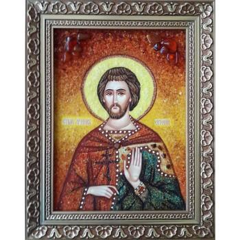 Евгений Севастийский - именная икона из янтаря (ар-252)