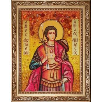 Евстафий Апсильский - икона из янтаря (ар-388)