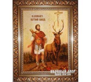 Евстафий Плакида, покровитель охотников - Икона из янтаря ручной работы (Евстафий)
