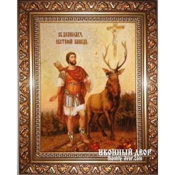 Євстафій Плакида, покровитель мисливців - Ікона з бурштину ручної роботи (Євстафій)